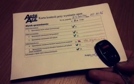 Karta kontroli przy wymianie opon w Auto Ars - sprawdzenie hamulców, zawieszenia i układu kierowniczego