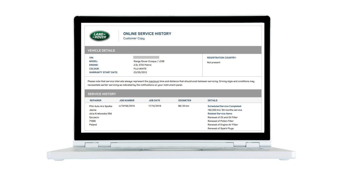 Wpis Auto Ars w Internetowej Książce Serwisowej Land Rover