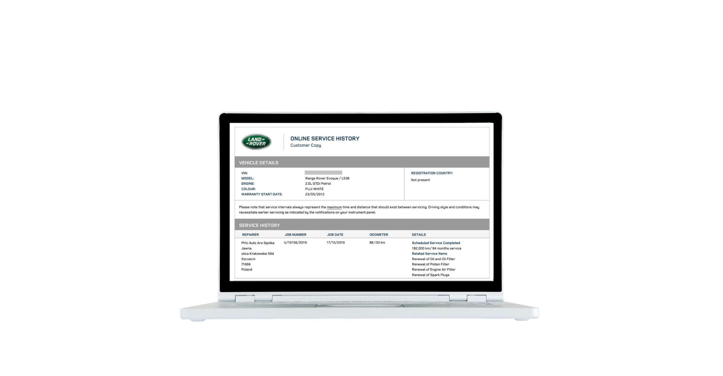 Wpis w internetowej książce serwisowej Land Rover